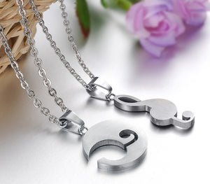 Lovers' Romantic Musical Notes Pendant Necklace