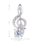 Crystal Treble Clef Brooch