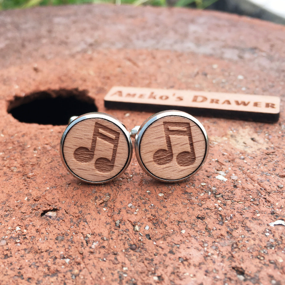 WOODEN MUSICAL NOTES CUFFLINK