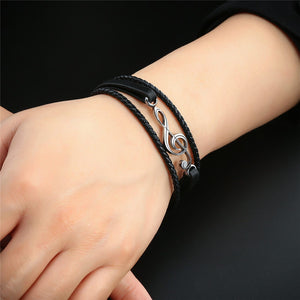 Braided Black Leather Rope Treble Clef Bracelet