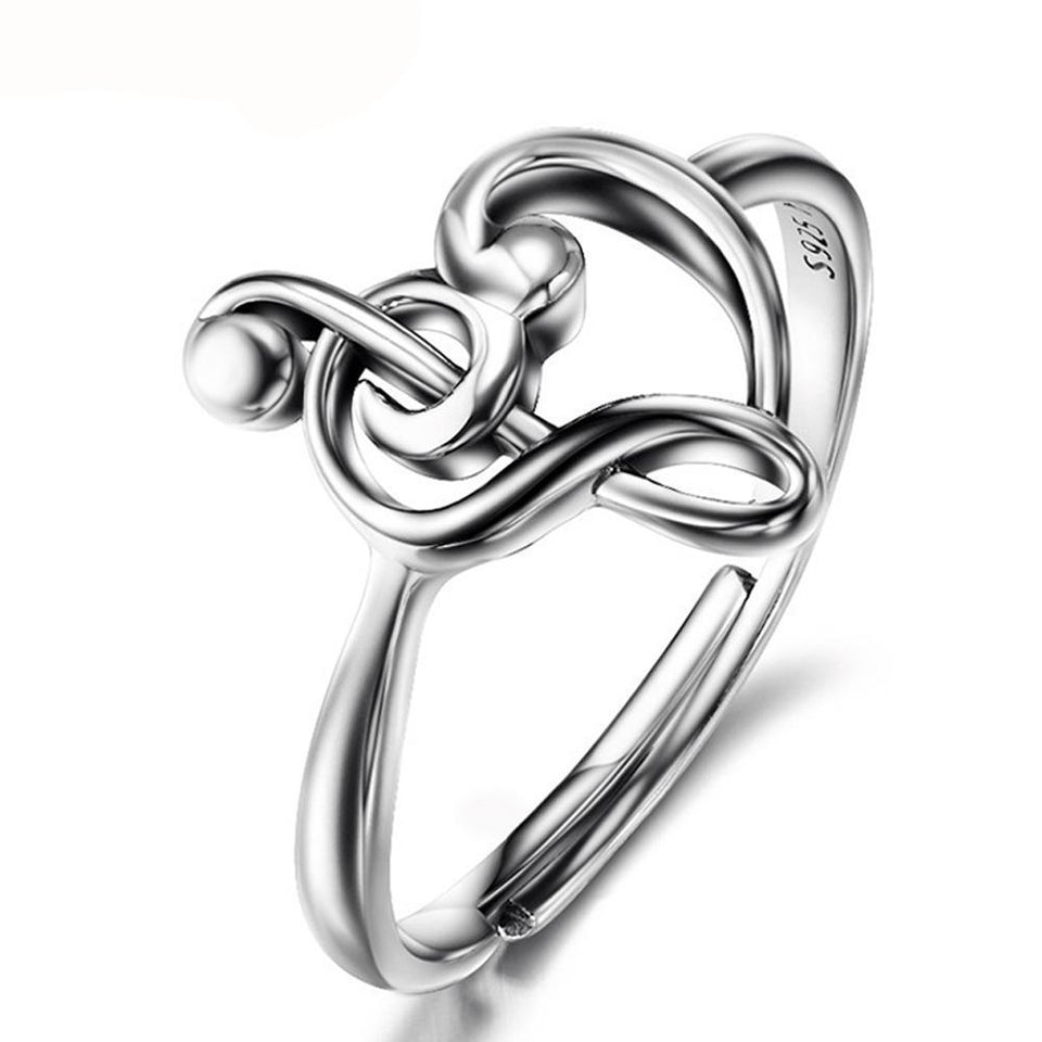 Treble & Bass Clef Heart Ring