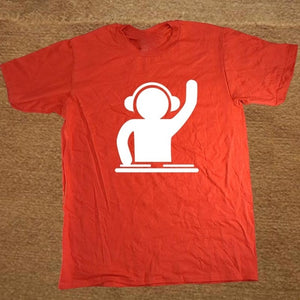 Man T Shirts DJ Turntable Music Techno Club Headphone Cotton T-shirt For Men