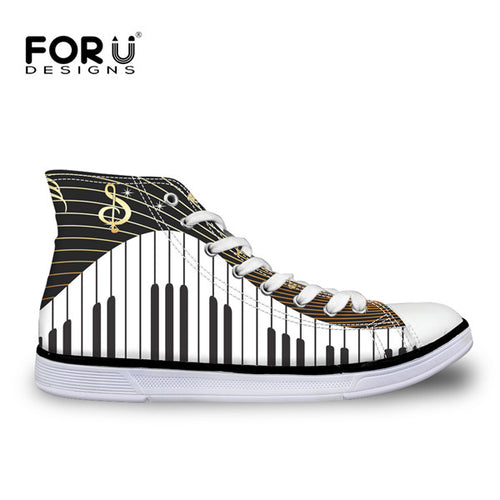 Musical Note Women High Top Vulcanize Canvas Shoes
