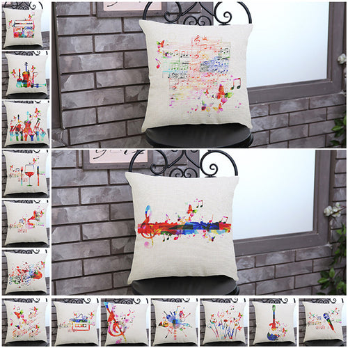 Musical Notes Pattern Cotton Linen Pillowcase