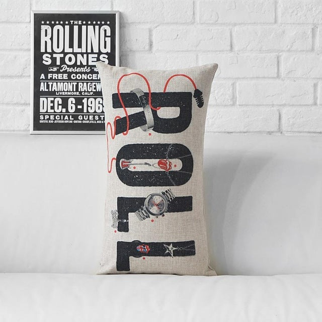 Super Star Rock & Roll Music Print Cushion Cover Large