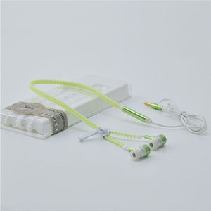 M&J Glowing Earphone Luminous Light Metal Zipper Earbuds Glow In The Dark For Iphone Samsung Xiaomi