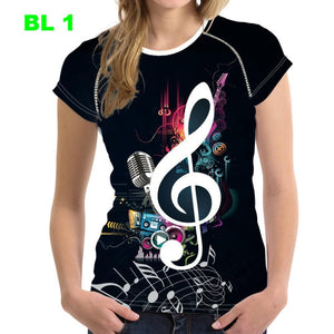Stylish Music Note Print Summer T-Shirt