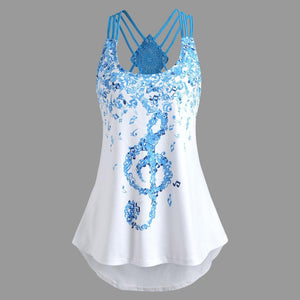 KANCOOLD tops high quality Ladies sleeveless Vest Top Musical Notes Print Strappy summer tops for women 2018