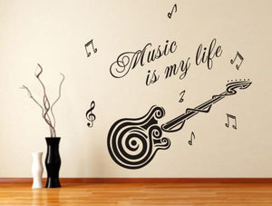 Guitar Wall Sticker Music is My Life