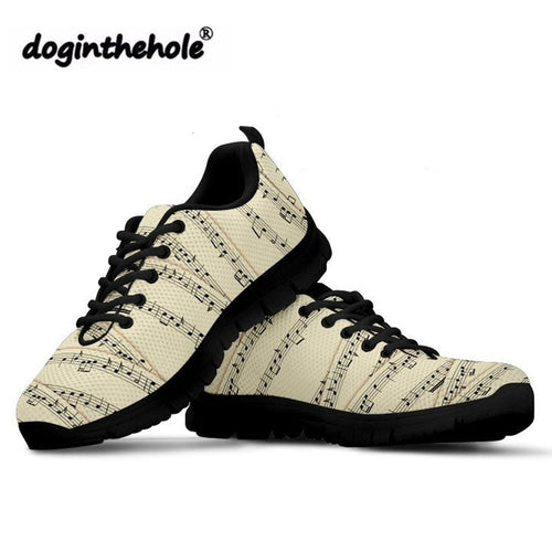 Sheet Music Printed Sneakers For Women