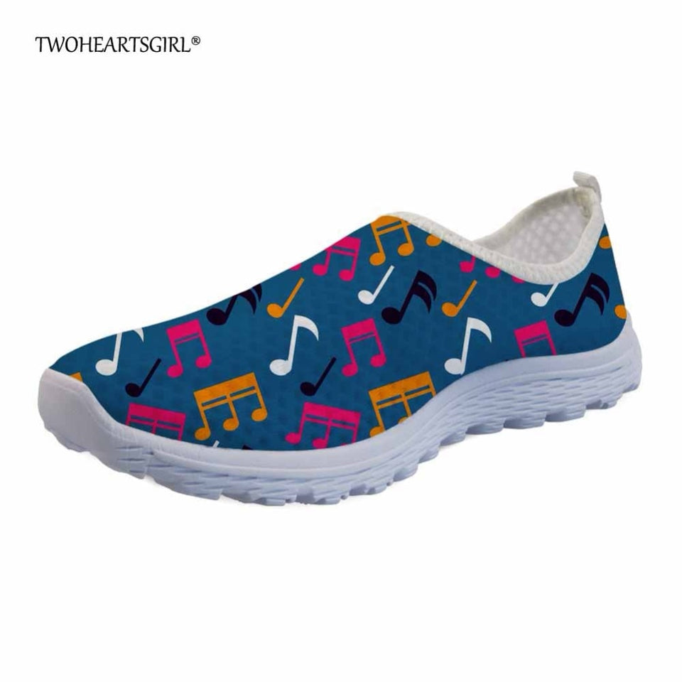 Twoheartsgirl Colorful Music Notes Pattern Summer Flats