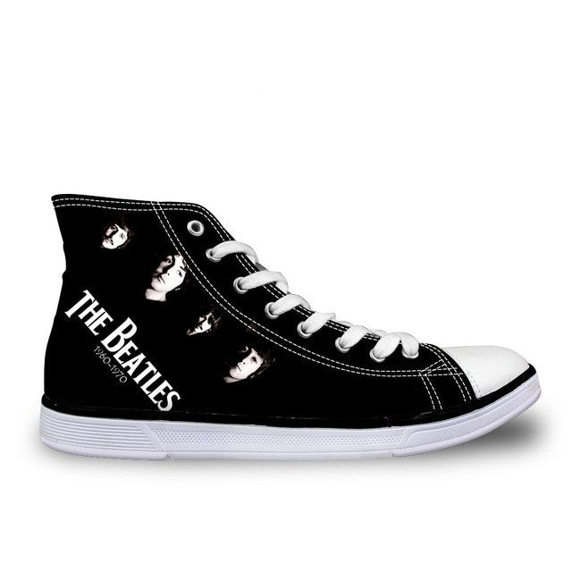 ELVISWORDS Music Star Black Vulcanize Shoes For Women