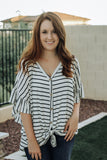 Button Down Striped Knot Top