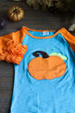 Orange and Teal Pumpkin Ruffle Shirt for Kids