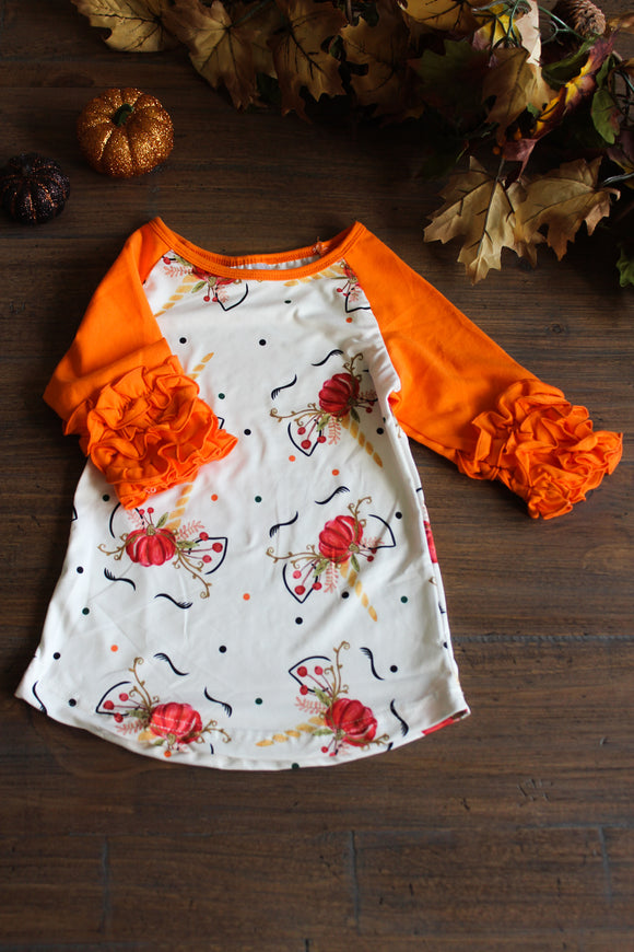 Unicorn Orange Ruffle Top for Kids