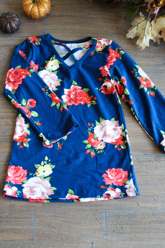 Blue Flower Long Sleeve Kids Shirt
