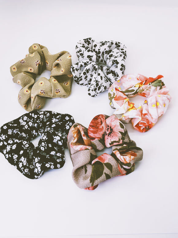 Five Piece Floral Hair Scrunchies