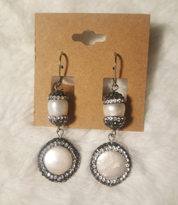 Mother Of Pearl 2 Drop Earrings With Hematite Stone Detail