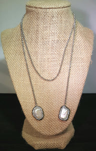 Long Necklace With Mother Of Pearl Stones