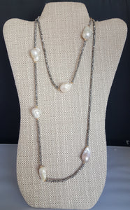 Fresh Water Pearl Necklace On Long Hematite Chain