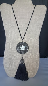 Long Necklace With Round Flower Pendant