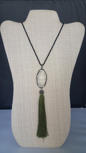 Long Necklace With Green Tassel Buhhda Pendant