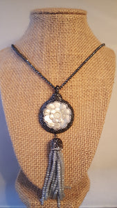Precious Flower Stone & Hematite Charm Necklace
