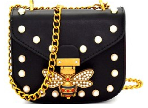 A Designer Inspired Bee Purse With Pearl & Rhinestone Detail