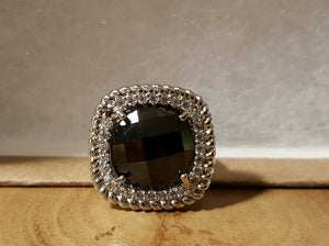 Designer Inspired Metal Ring With Black Stone Size 8