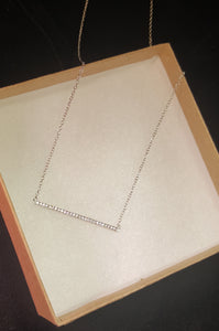 Sterling Silver Cubic Zirconia Bar Necklace