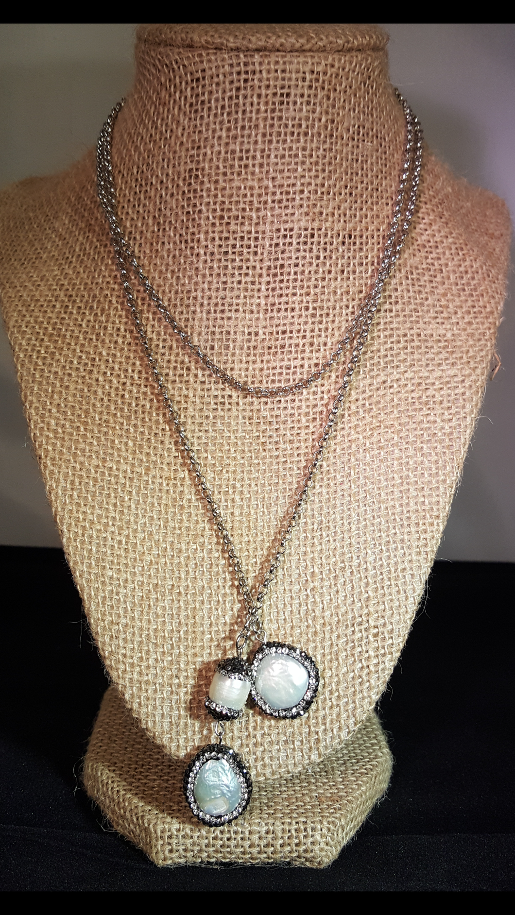 Long Necklace With Mother Of Pearl End Stones