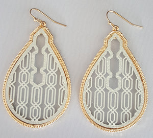 Light Grey With Gold Trim Earring
