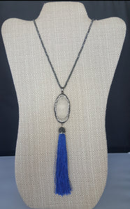 Long Necklace With Navy Tassel Buhhda Pendant