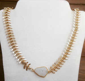 Gold Necklace With  Druzy Stone