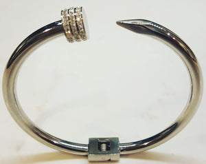 Designer Inspired Nail Bangle With CZ In Silver