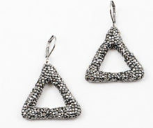 Trendy Hematite Stone Triangle Earrings