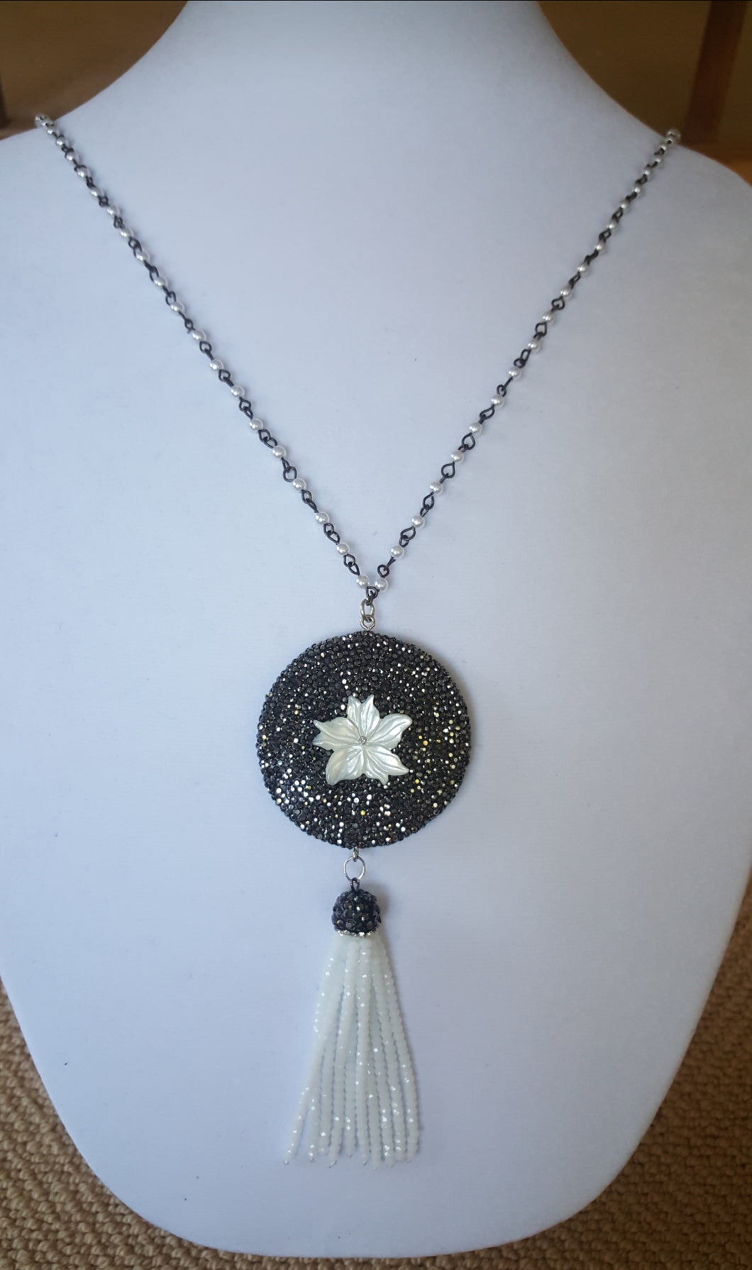Tassel Necklace With Flower Pendant