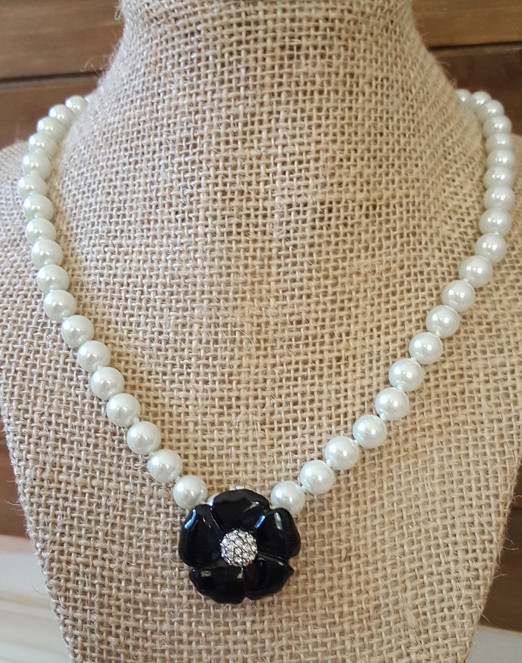 Designer Inspired Pearl Necklace With Flower