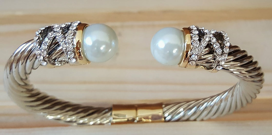 Designer Cable Bracelet With Pearl Detail