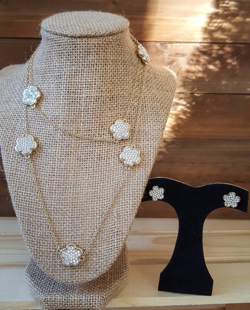 Designer Inspired  CZ Clover Necklace & Earring Set