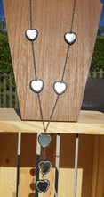 Heart Station Necklace- Gray Hearts