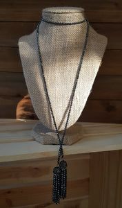 "36"" Hematite Double Tassel Necklace"