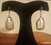 Mother Of Pearl Drop Earrings With Hematite Stone Detail