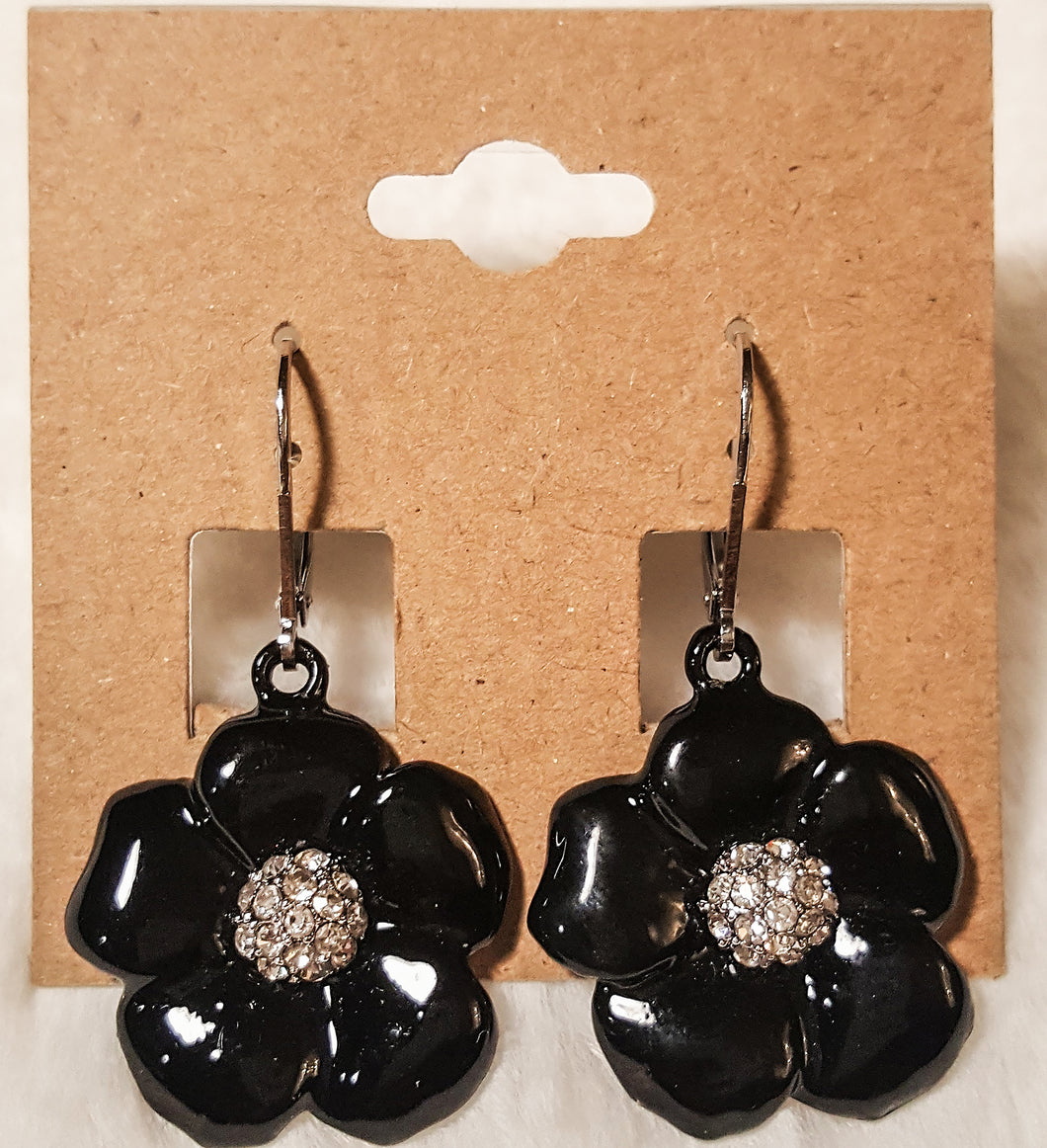 Flower Earring In Black With Sparkle Center