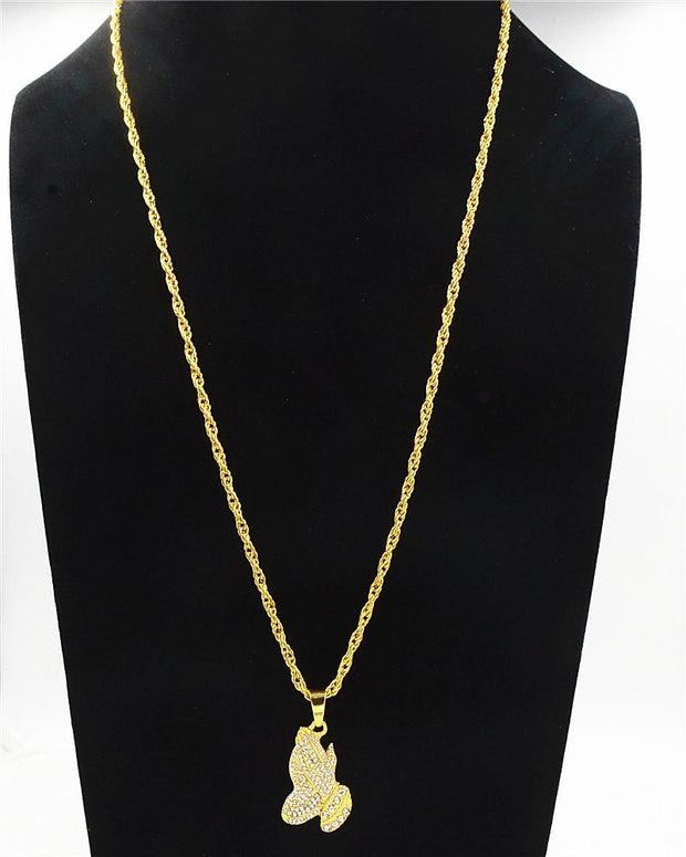 Praying Hands Diamond Necklace-HipHopAesthetics