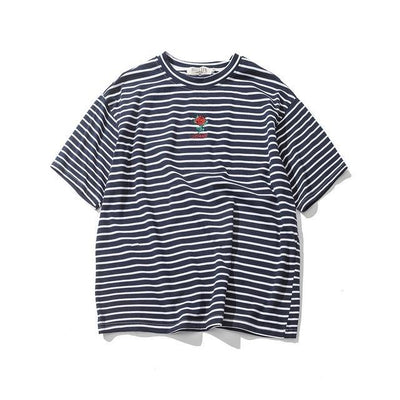 Striped T-Shirt With Rose Embroidery-HipHopAesthetics