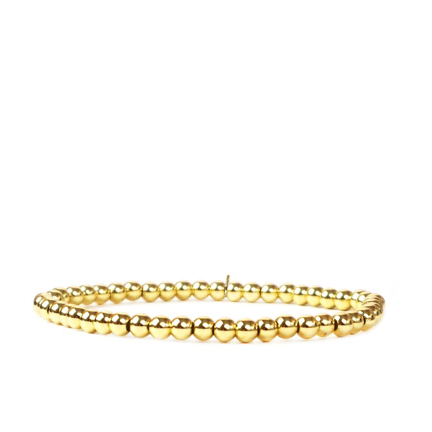 Gold Tone Metal Beaded Stretch Bracelet 4mm