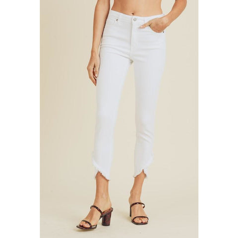 White Denim Skinny Jeans with Cross Over Frayed Hem