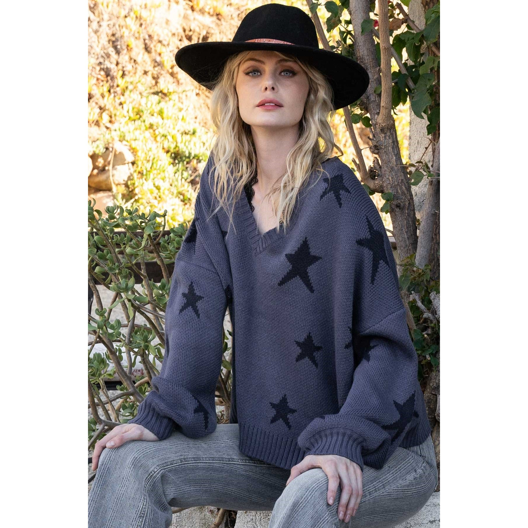 Indigo Sweater with Large Black Stars