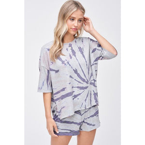 Grey and Navy Short Sleeved Tie Dyed Lounge Tee